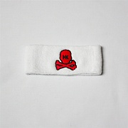 Повязка HK Army skull sweatband white/red